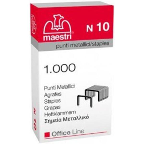 Σύρματα Συρραφής Roma No 10 Maestri σε κουτί των 1000 Συρμάτων συρραφής. Μπορεί να συρράψει έως 10-12 φύλλα χαρτί 80γρ.