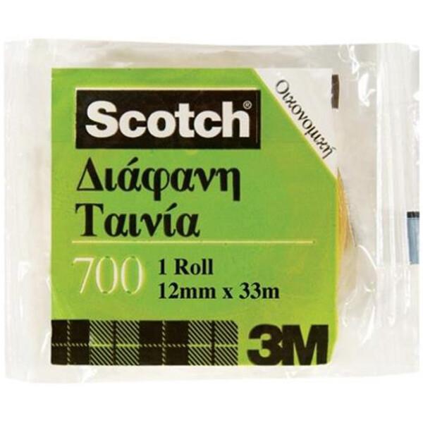 Κολλητική Ταινία Scotch 700 της 3M οικονομική για καθημερινή χρήση με πλάτος 12mm και μήκος 33 μέτρα.
