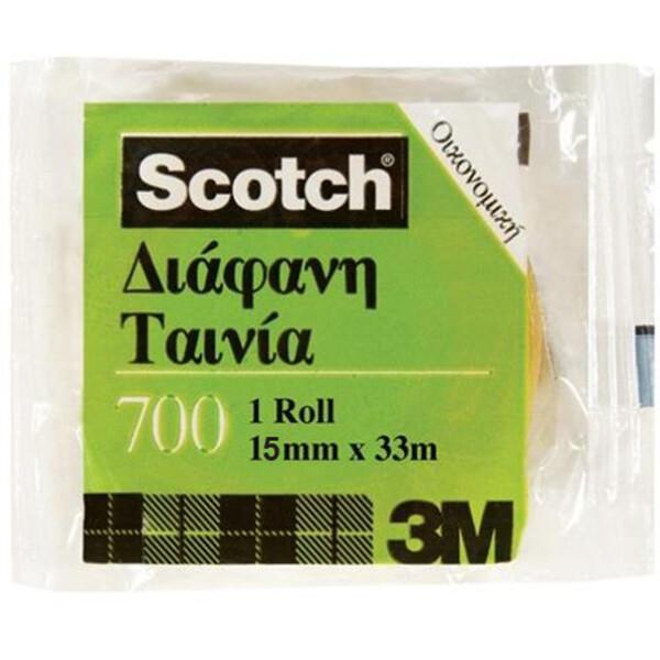 Κολλητική Ταινία Scotch 700 της 3M οικονομική για καθημερινή χρήση με πλάτος 15mm και μήκος 33 μέτρα.