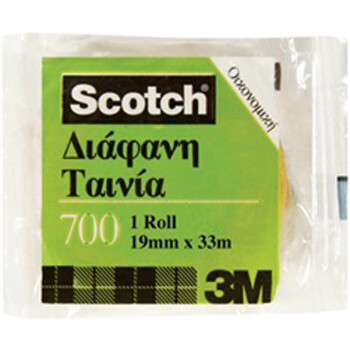 Κολλητική Ταινία Scotch 700 της 3M οικονομική για καθημερινή χρήση με πλάτος 19mm και μήκος 33 μέτρα.