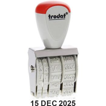Σφραγίδα TRODAT CLASSIC 1010 Ημερομηνιών με Λατινικούς χαρακτήρες Ύψος ψηφίου-γραμμάτων 4mm και μήκος σφραγίδας 2.6cm.