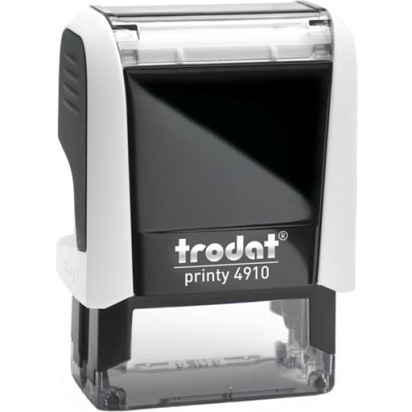 Σφραγίδα Trodat Printy 4910 Eco Αυτομελανώμενη Λευκή για κατασκευή σφραγίδας έως 2 μικρών λέξεων.