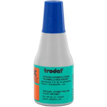 Μελάνι Ανεξίτηλο Σφραγίδων 7021 TRODAT 25ml Μπλε για επιφάνειες που το απλό μελάνι δεν στεγνώνει.