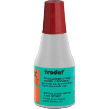 Μελάνι Ανεξίτηλο Σφραγίδων 7021 TRODAT 25ml Κόκκινο για επιφάνειες που το απλό μελάνι δεν στεγνώνει.