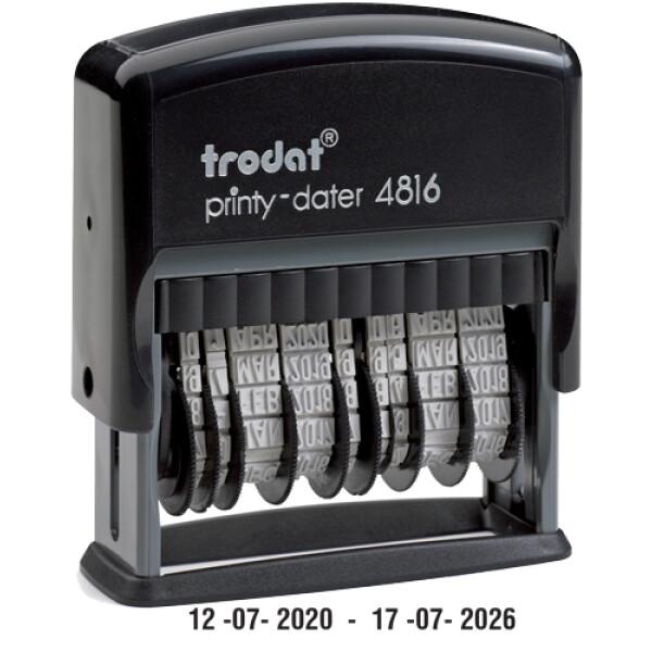 Σφραγίδα Ημερομηνιών TRODAT 4816 Αυτομελανώμενη διπλής Ημερομηνίας με αριθμούς ύψους 3.8mm με μαύρο ταμπόν και μήκος σφραγίδας 5.1cm