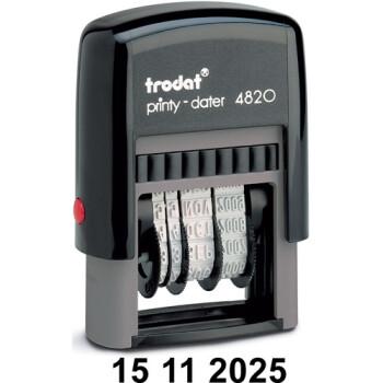 Σφραγίδα Ημερομηνιών TRODAT 4820 Αυτομελανώμενη με Αριθμούς Ύψους 4mm με μαύρο ταμπόν και μήκος σφραγίδας 2.5cm
