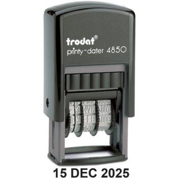 Trodat Printy 4850 Σφραγίδα Αυτομελανώμενη Ημερομηνίας με Αγγλικούς χαρακτήρες, μαύρη Ύψους 3.8mm για 1α γραμμή κειμένου.