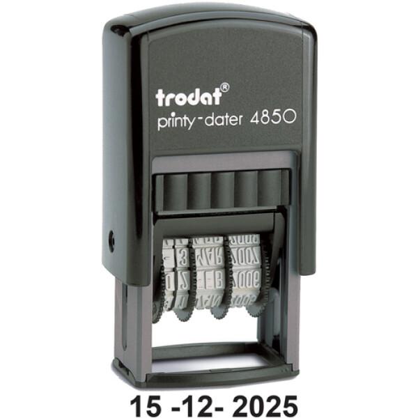 Trodat Printy 4850MA Σφραγίδα Αυτομελανώμενη Ημερομηνίας με Αριθμούς Μαύρη Ύψους 3.8mm για 1α γραμμή κειμένου.