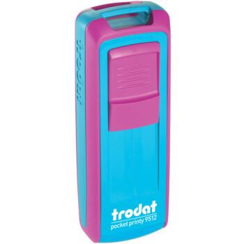 Σφραγίδα Trodat Pocket Printy 9512 Τσέπης Φούξια με Τυρκουάζ για κατασκευή σφραγίδας έως 5 γραμμών κειμένου.