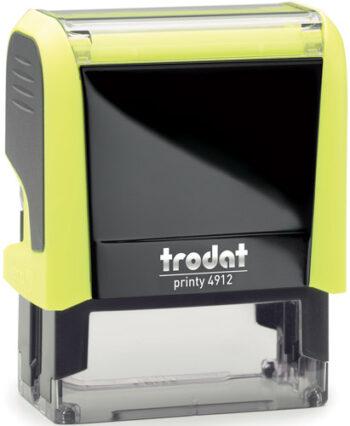 Σφραγίδα Trodat Printy 4912 Eco Αυτομελανώμενη Neon Κίτρινη για κατασκευή σφραγίδας έως 5 γραμμών κειμένου.