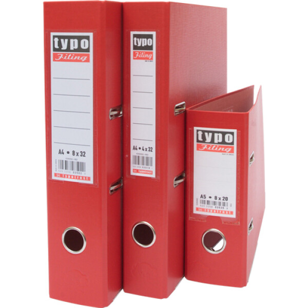 Κλασέρ Κόκκινο, Πλαστικό με μηχανισμό 2 Κρίκων, ύψους 32cm και πάχος ράχης 4cm