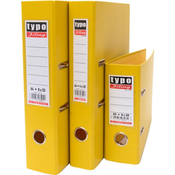 Κλασέρ Κίτρινο, Πλαστικό με μηχανισμό 2 Κρίκων, ύψους 32cm και πάχος ράχης 4cm